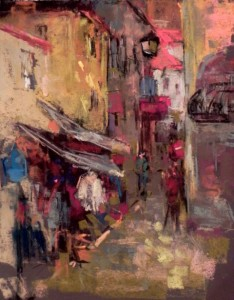aline ordman pastel tour, workshop, holiday, slikamilina, art, painting, korcula, croatia, milina, artist, lessons, classes, pleinair, plein air, Sintra Market Street